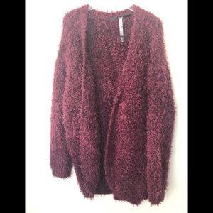 Kensie | Burgundy Shaggy Long Shrug Size L